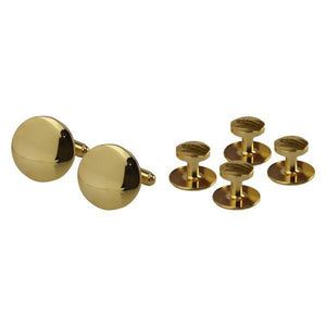 Navy Cuff Links And Studs: Gold - Set Of 4