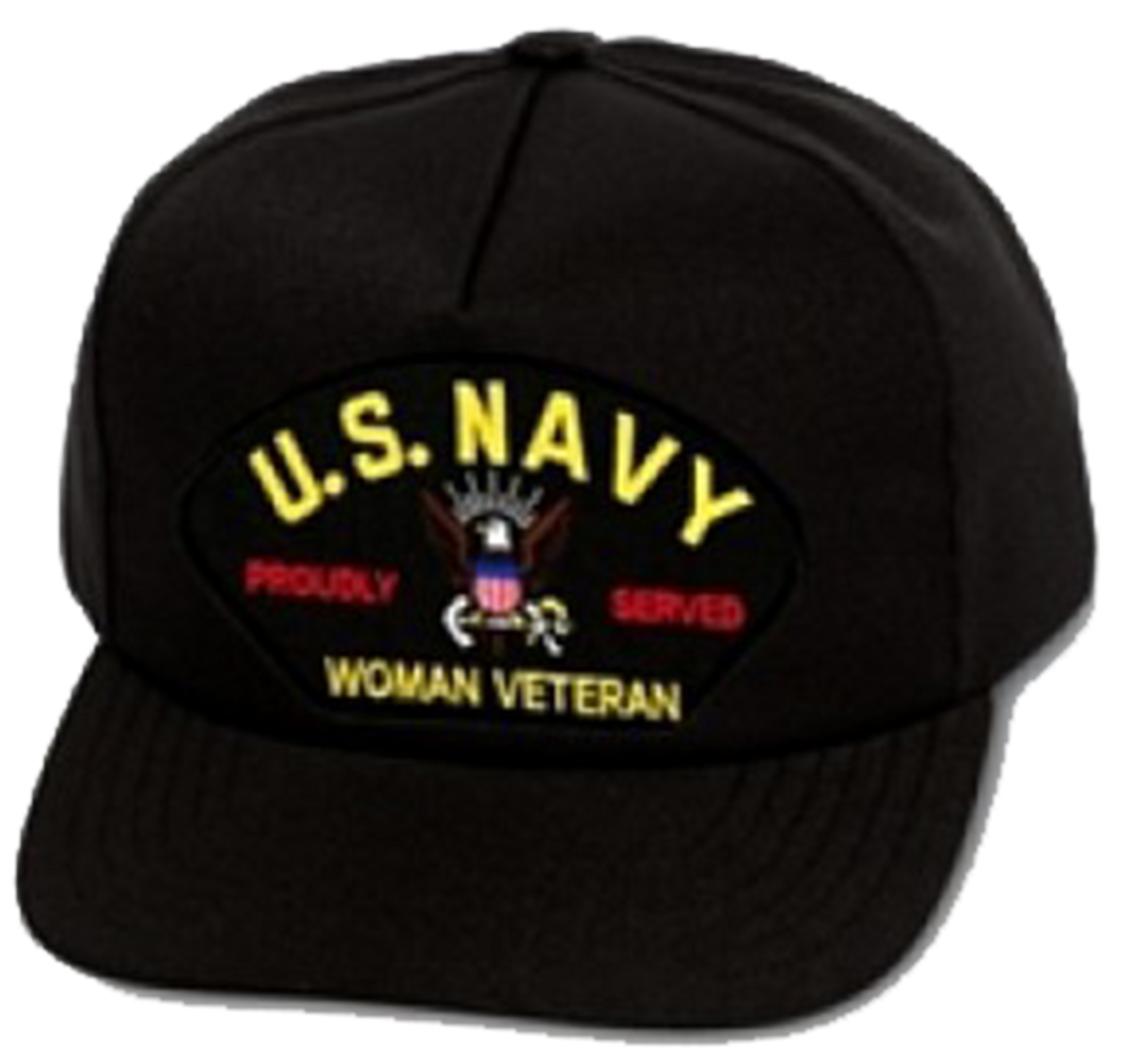 Woman Veteran Black Ball Cap