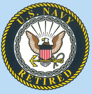 US Navy Retired with Crest Decal