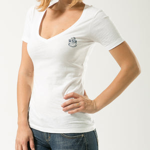 NAVY WOMENS V-NECK TEE