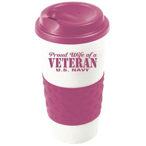 Proud Wife of a Navy Veteran Pink Grip N Go Mug