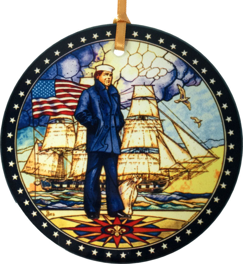 The Lone Sailor Glass Ornament