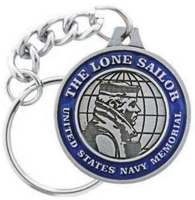 Navy Memorial Seal Pewter Keychain