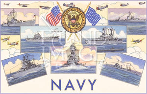 Vintage Ships of the U.S. Navy Note Cards - Set of 8