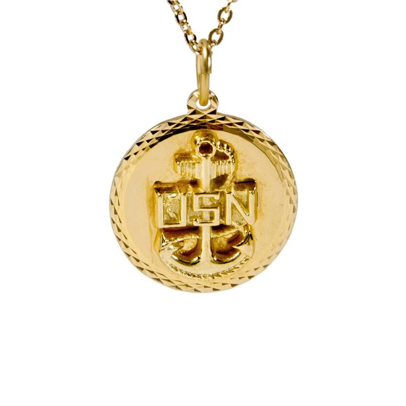 US Navy Gold Diamond Cut Pendant Necklace