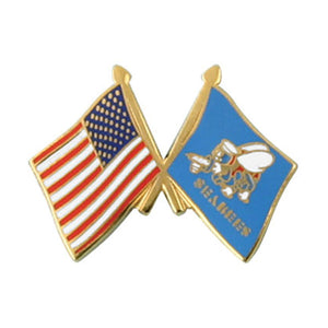 USA and Seabee Crossed Flag Pin