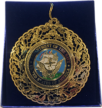 US Navy Gold Holiday Ornament