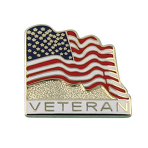 Waving Flag Veteran Pin