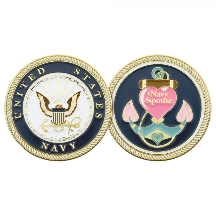 NAVY SPOUSE PINK COIN
