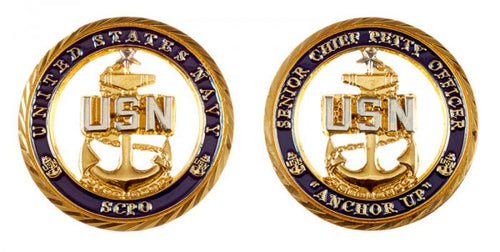 USN Senior Chief Petty Officer Cut-Out Coin