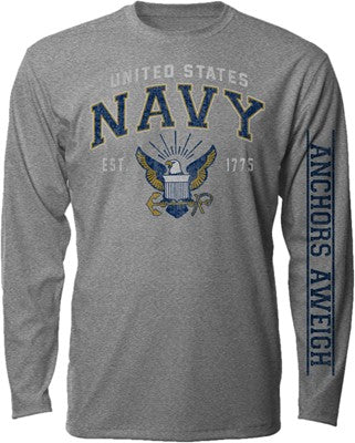 Navy Vintage Logo Graphite Long Sleeve Tee