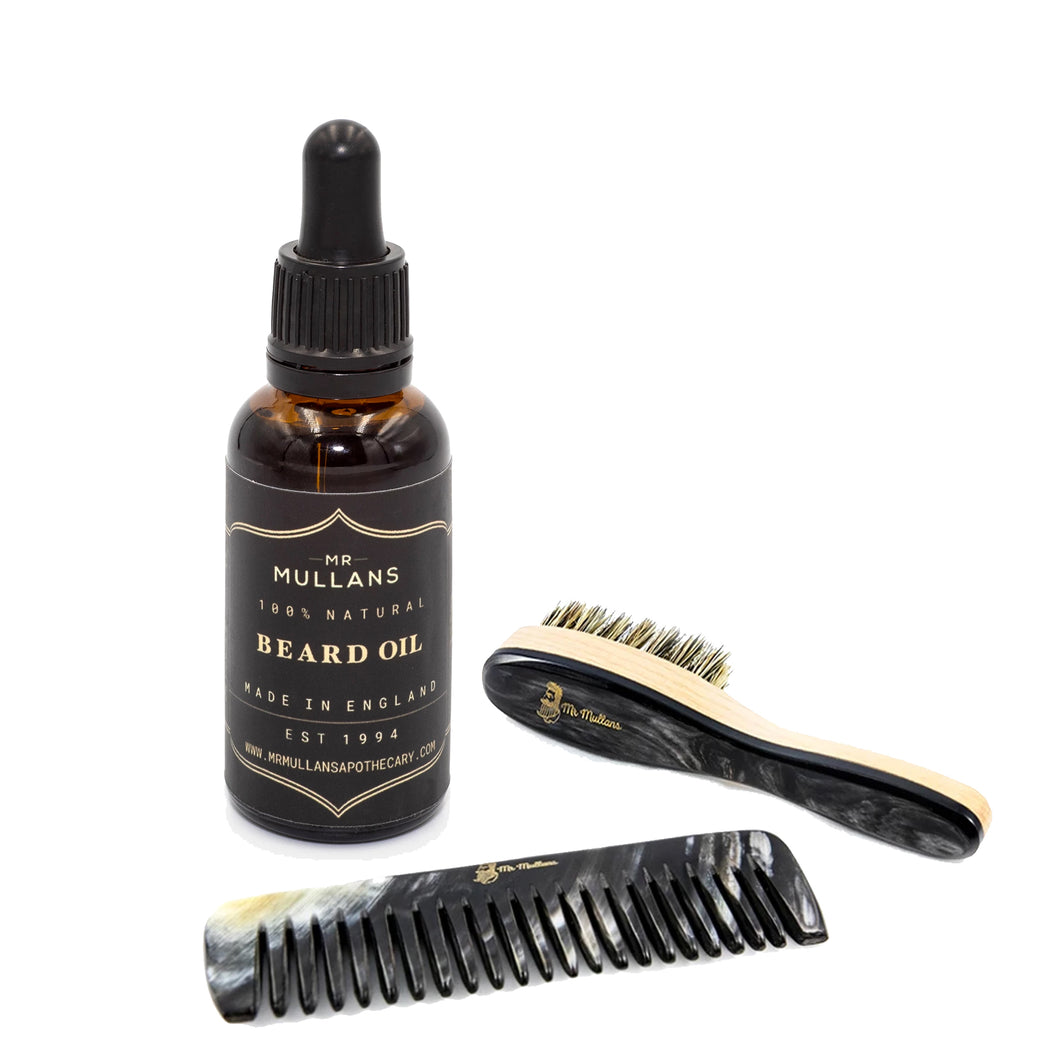 hand made natural beard oil. gift for gentlemen.  charming gift for men. ox horn comb. luxury mens hair tools. grooming range for men