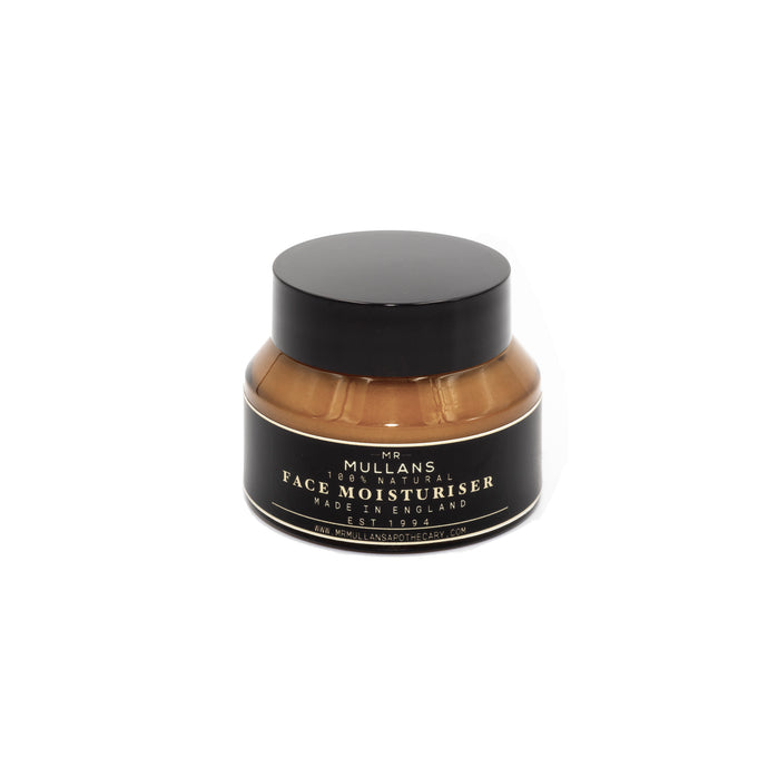 mr mullans moisturiser for men. hyaluronic acid moisturiser made with only natural ingredients. ingredients sourced ethically. mens skin care. mens moisturiser. mens  grooming product. daily use moisturiser.