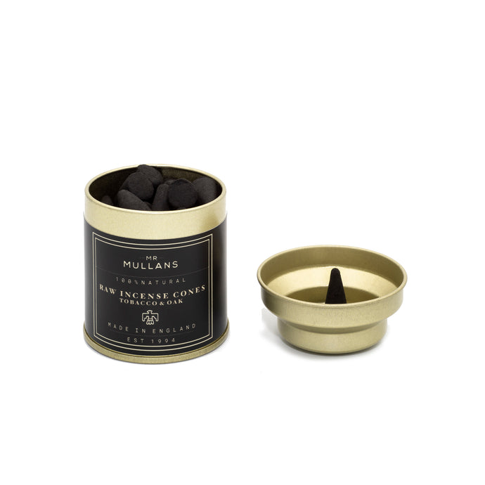 incense cones for men. Manly incense cones. Tobacco and oak cones for the home. Incense cones. Light incense. Burn incense. Incense made from charcoal. Incense in gold tin. Mr Mullan's Apothecary incense cones