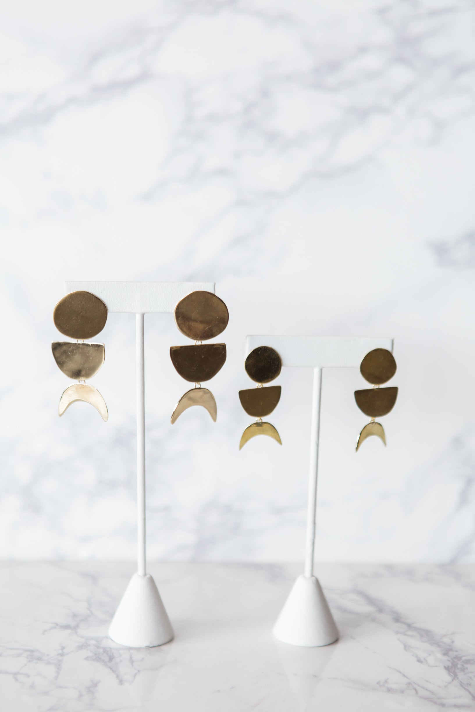 Petite Lunar Phase Dangle Earrings - M Street Studio