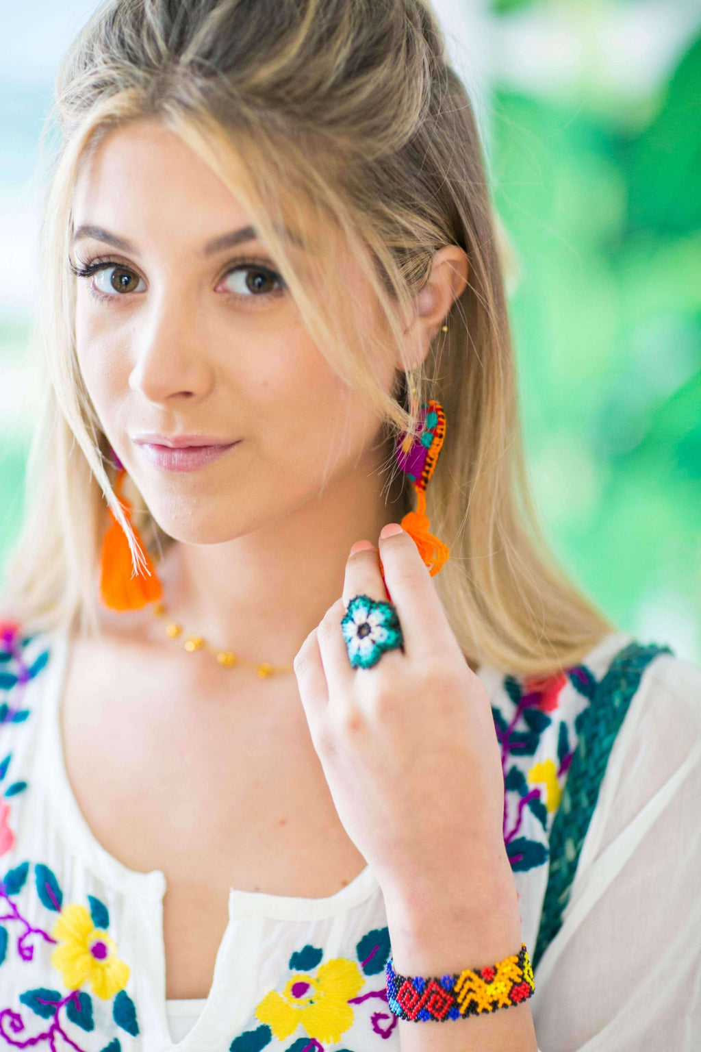 Beaded Flower Ring in Tropical Sunset - Josephine Alexander Collective