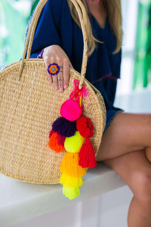 Medium Pom Tassel in Calipso Swirl