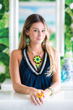 Beaded Estrella Necklace in Evergreen - Josephine Alexander Collective