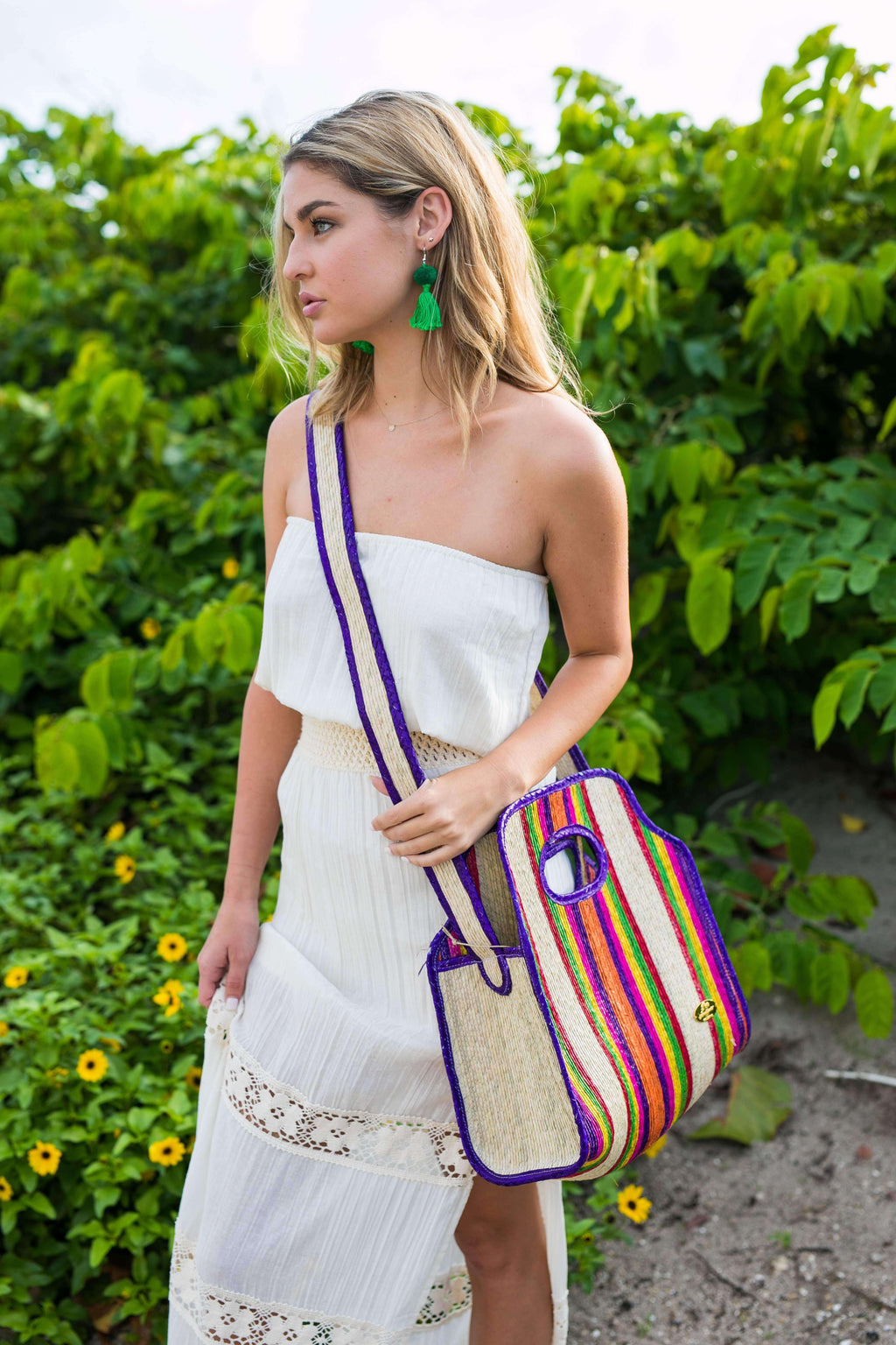 Cancun Straw Crossbody in Violet - Josephine Alexander Collective