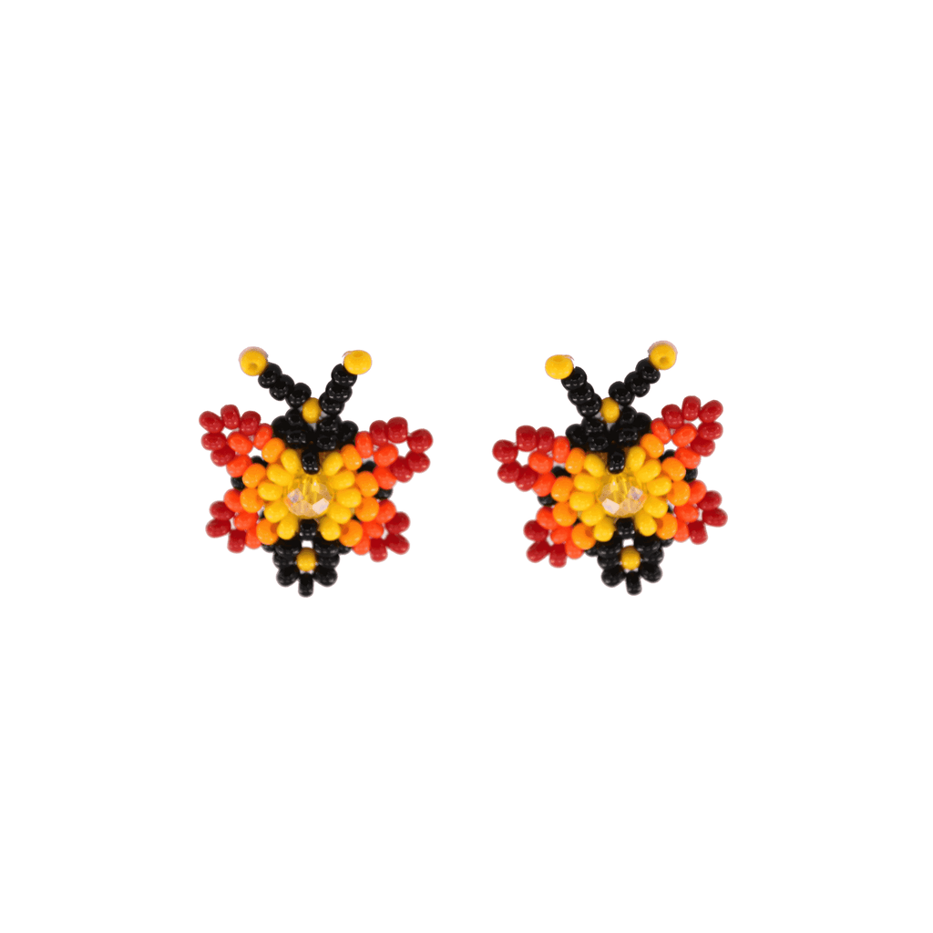 Butterfly Beaded Earring in Red and Yellow