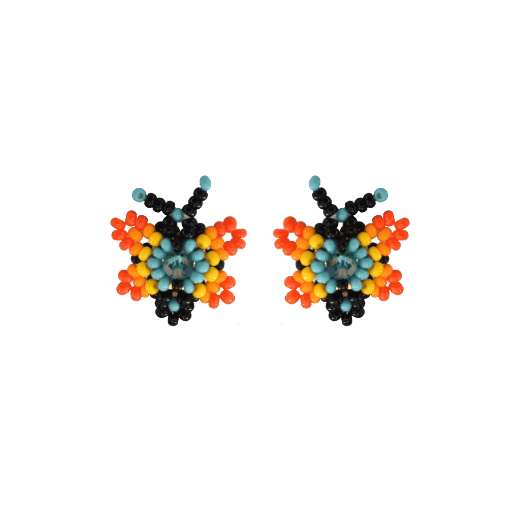 Butterfly Beaded Earring in Orange and Turquoise - Josephine Alexander Collective