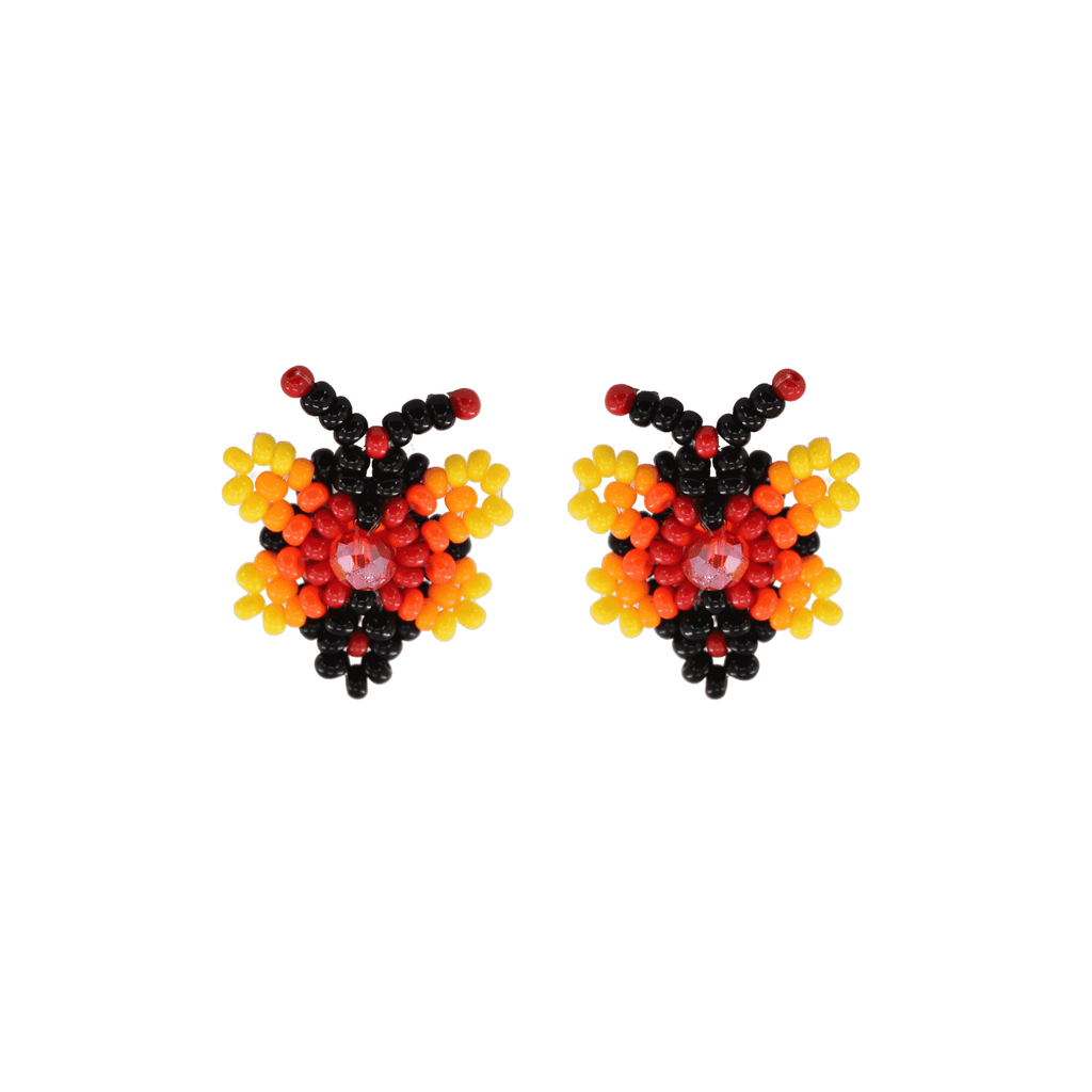 Butterfly Beaded Earring in Yellow and Red - Josephine Alexander Collective