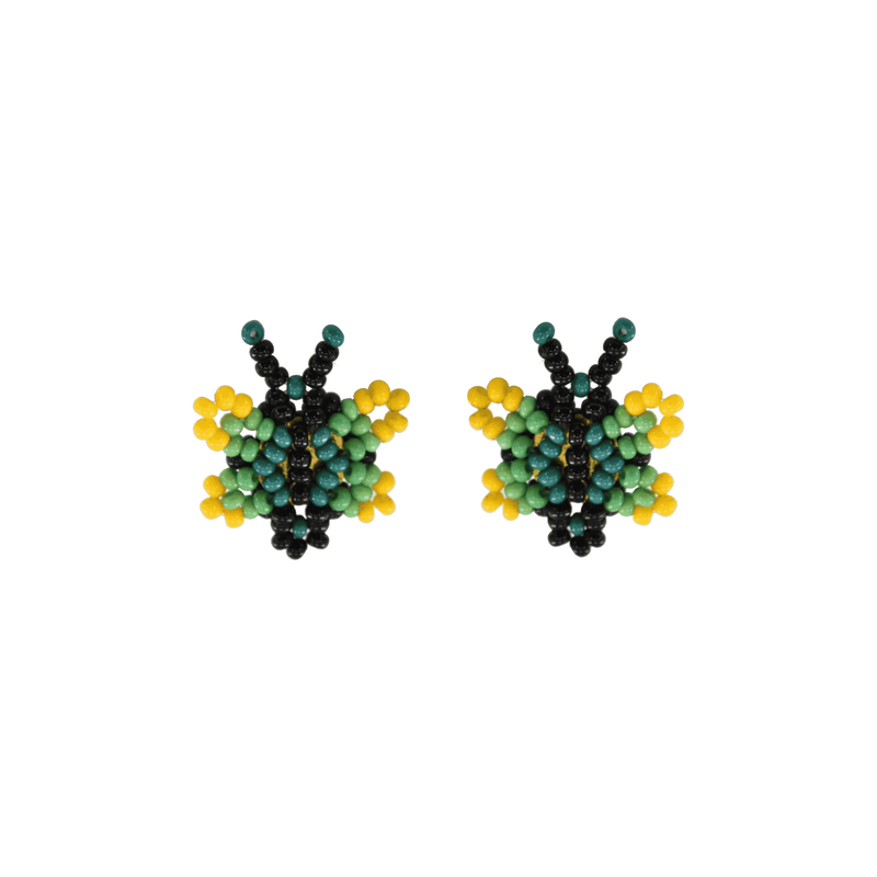 Butterfly Beaded Earring in Lemon Lime - Josephine Alexander Collective