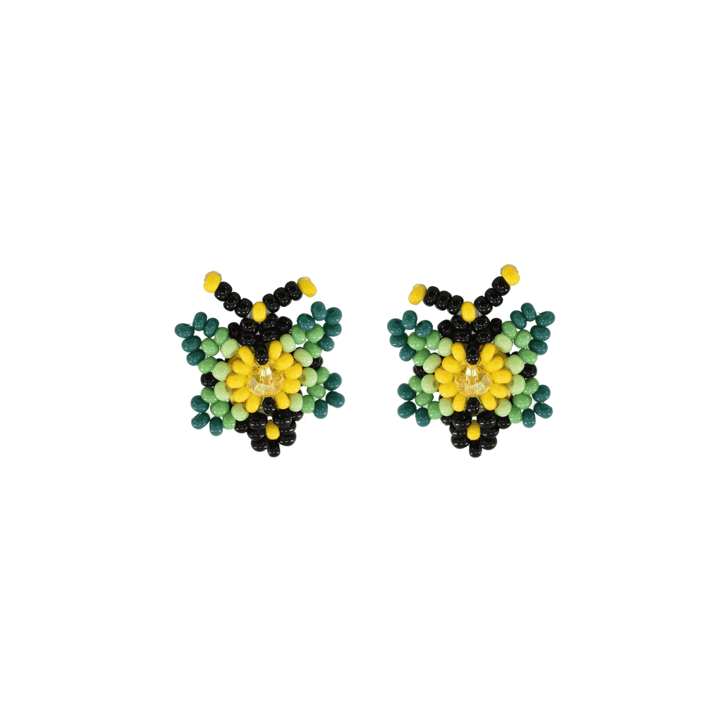 Butterfly Beaded Earring in Lime and Honey - Josephine Alexander Collective