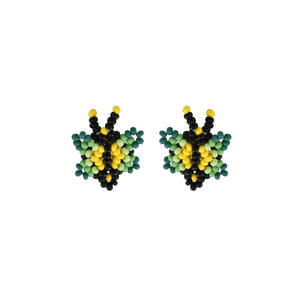 Butterfly Beaded Earring in Lime