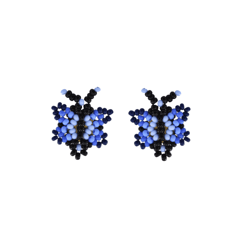 Butterfly Beaded Earring in Shades of Blue - Josephine Alexander Collective