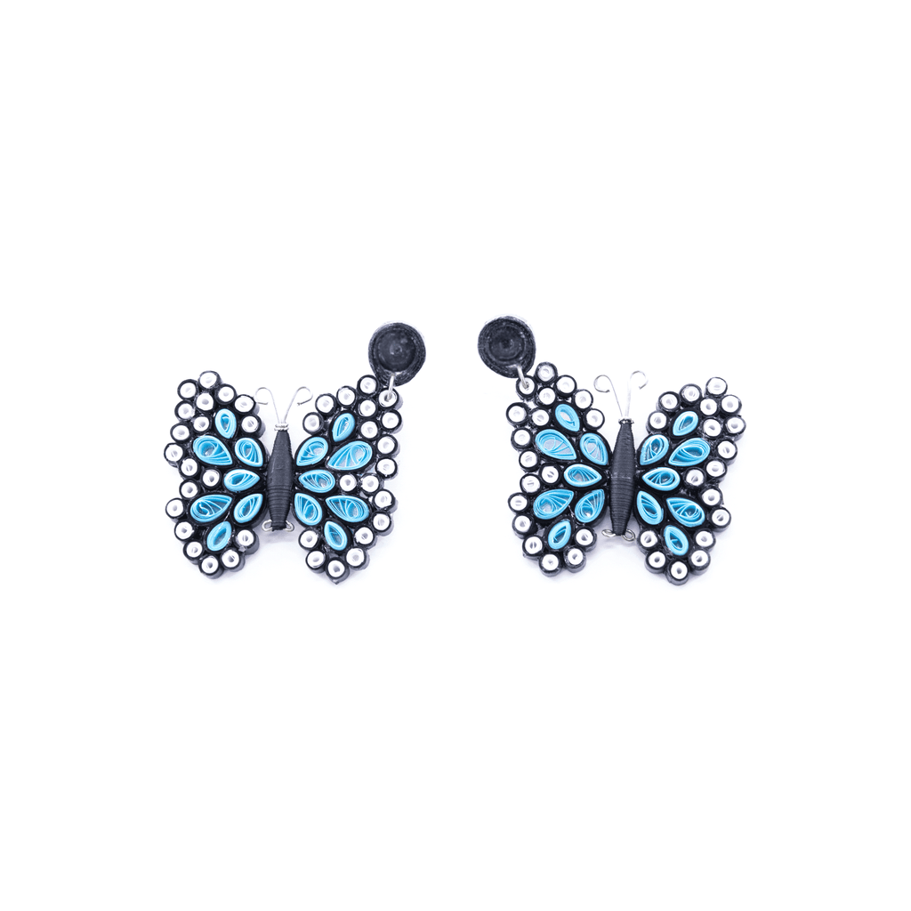 Quilled Butterfly Earrings in Light Blue - Josephine Alexander Collective