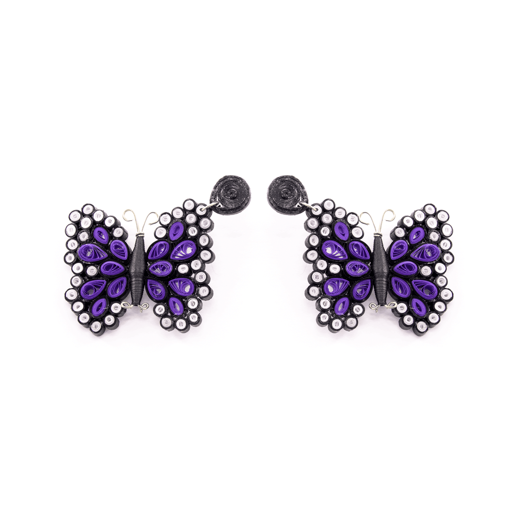 Quilled Butterfly Earrings in Purple - Josephine Alexander Collective
