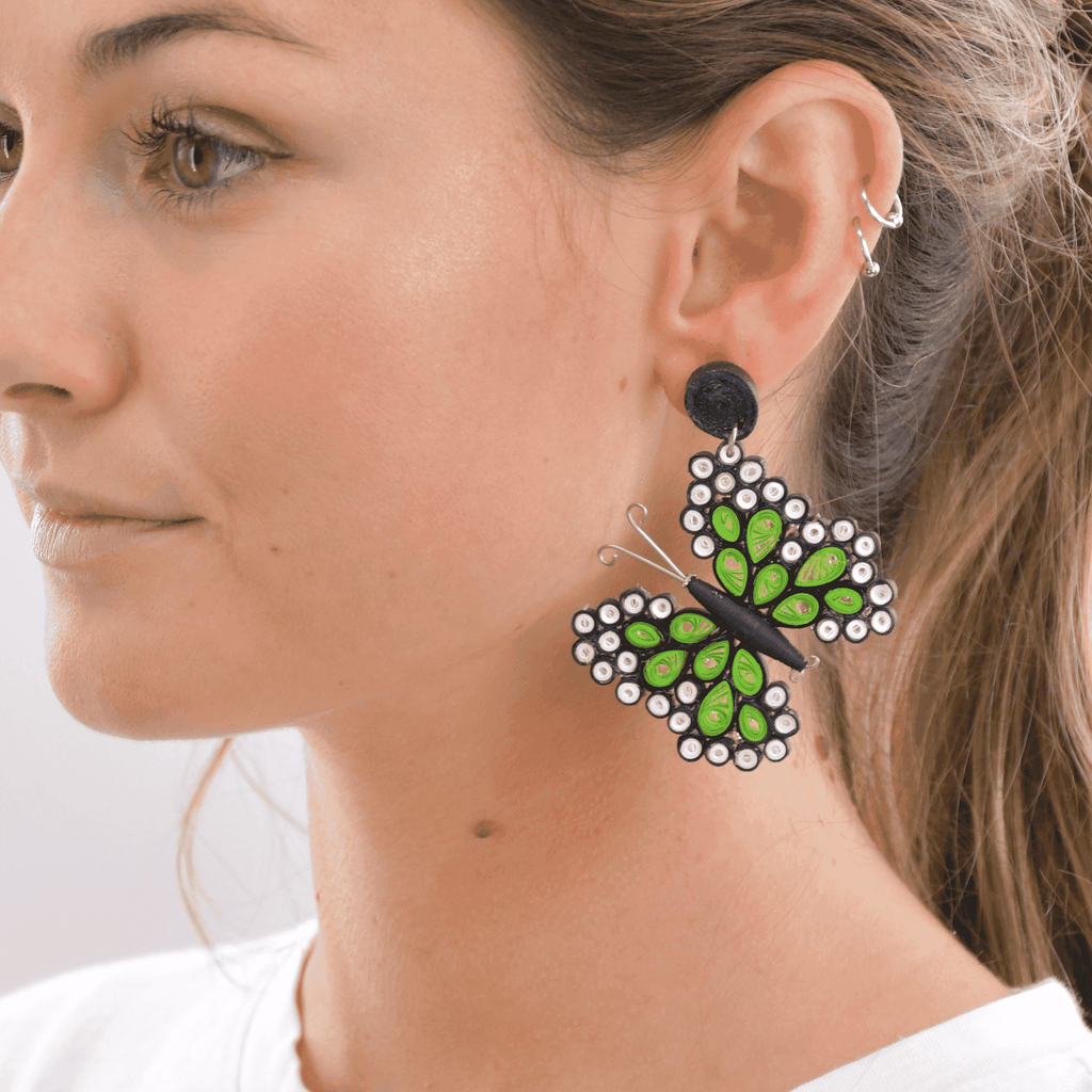 Quilled Butterfly Earrings in Green - Josephine Alexander Collective