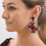 Quilled Butterfly Earrings in Red - Josephine Alexander Collective