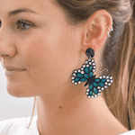 Quilled Butterfly Earrings in Turquoise - Josephine Alexander Collective