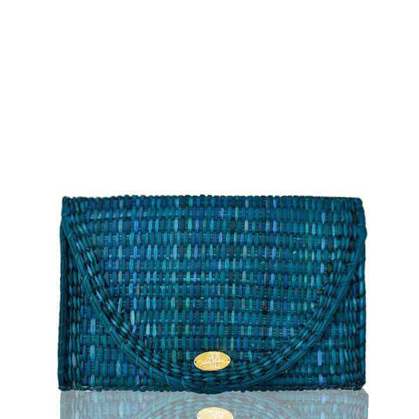 Abby Straw Clutch in Turquoise