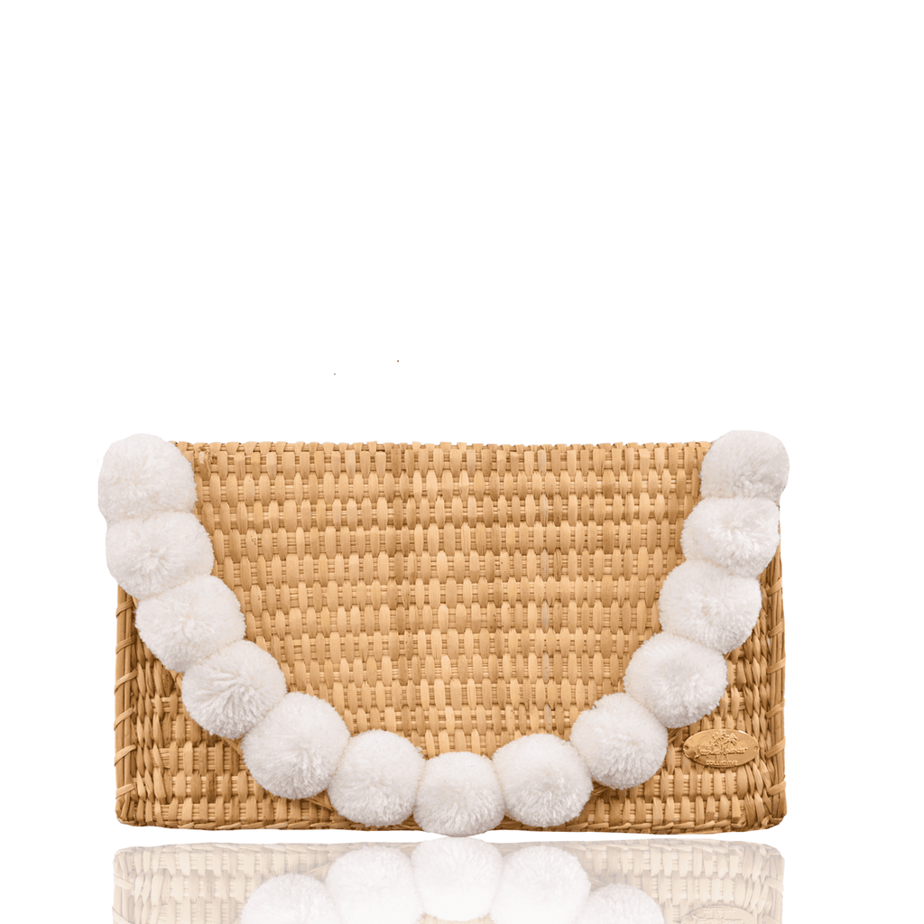 Abby Straw Clutch with White Poms
