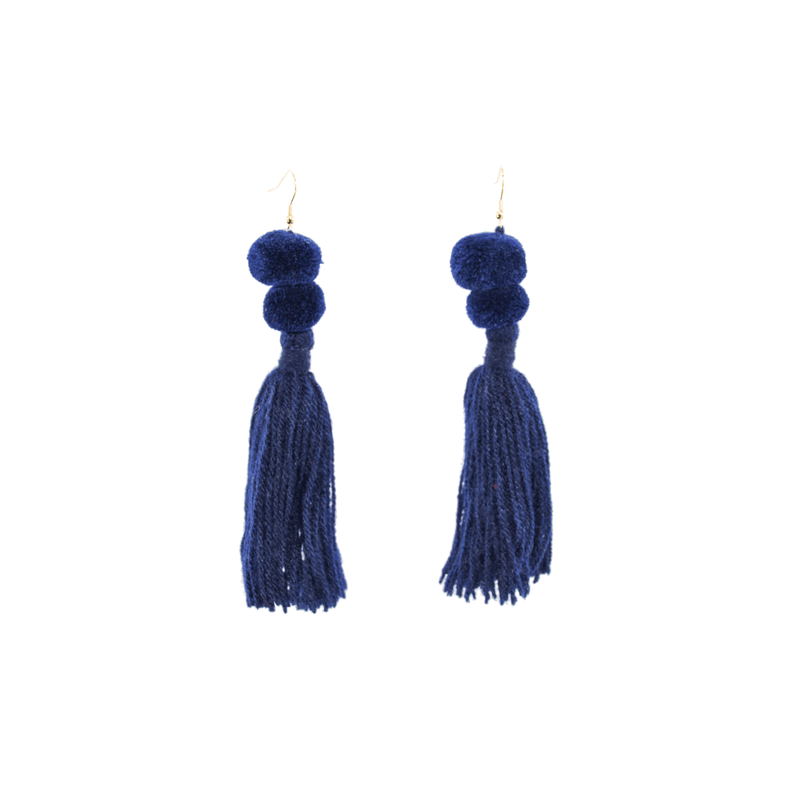 Alexandra Double Pom Tassel Earrings in Deep Navy - Josephine Alexander Collective