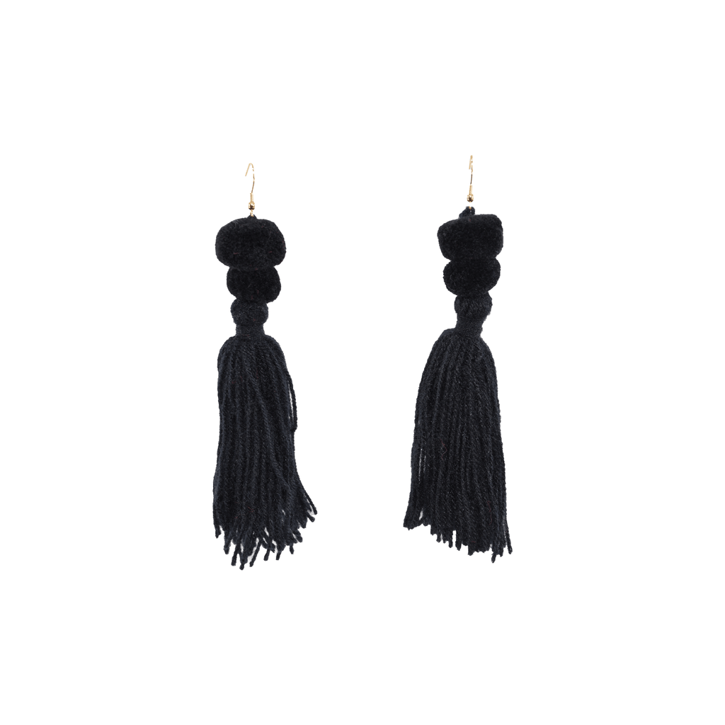 Alexandra Double Pom Tassel Earrings in Licorice - Josephine Alexander Collective