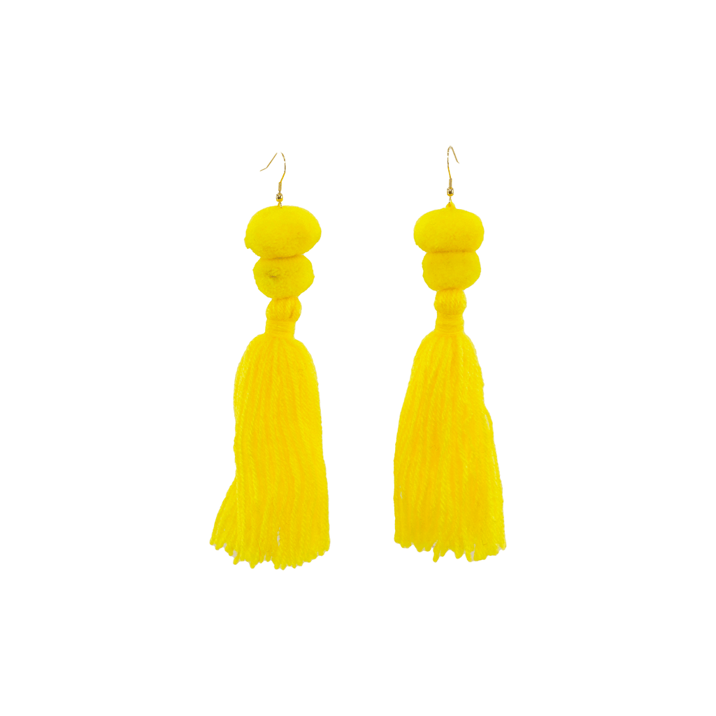 Alexandra Double Pom Tassel Earrings in Sunshine - Josephine Alexander Collective