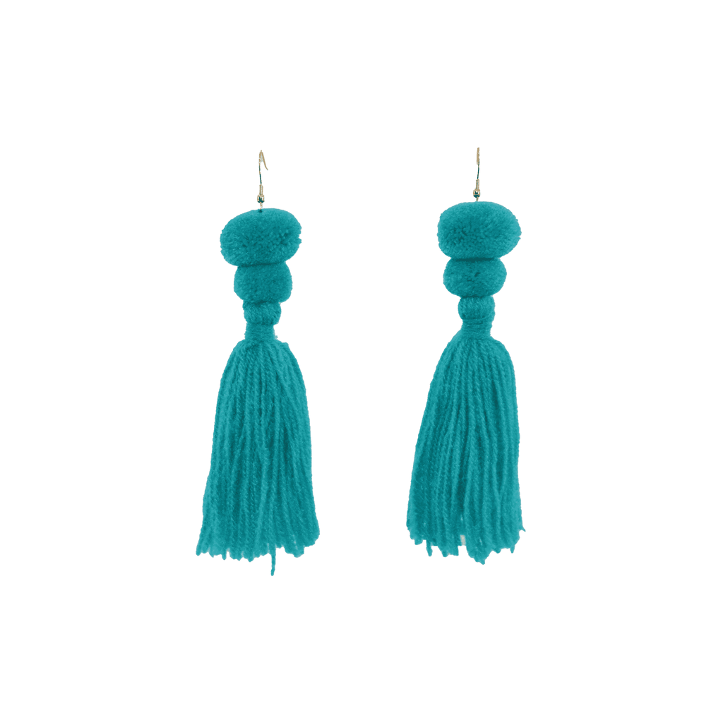 Alexandra Double Pom Tassel Earrings in Turquoise - Josephine Alexander Collective