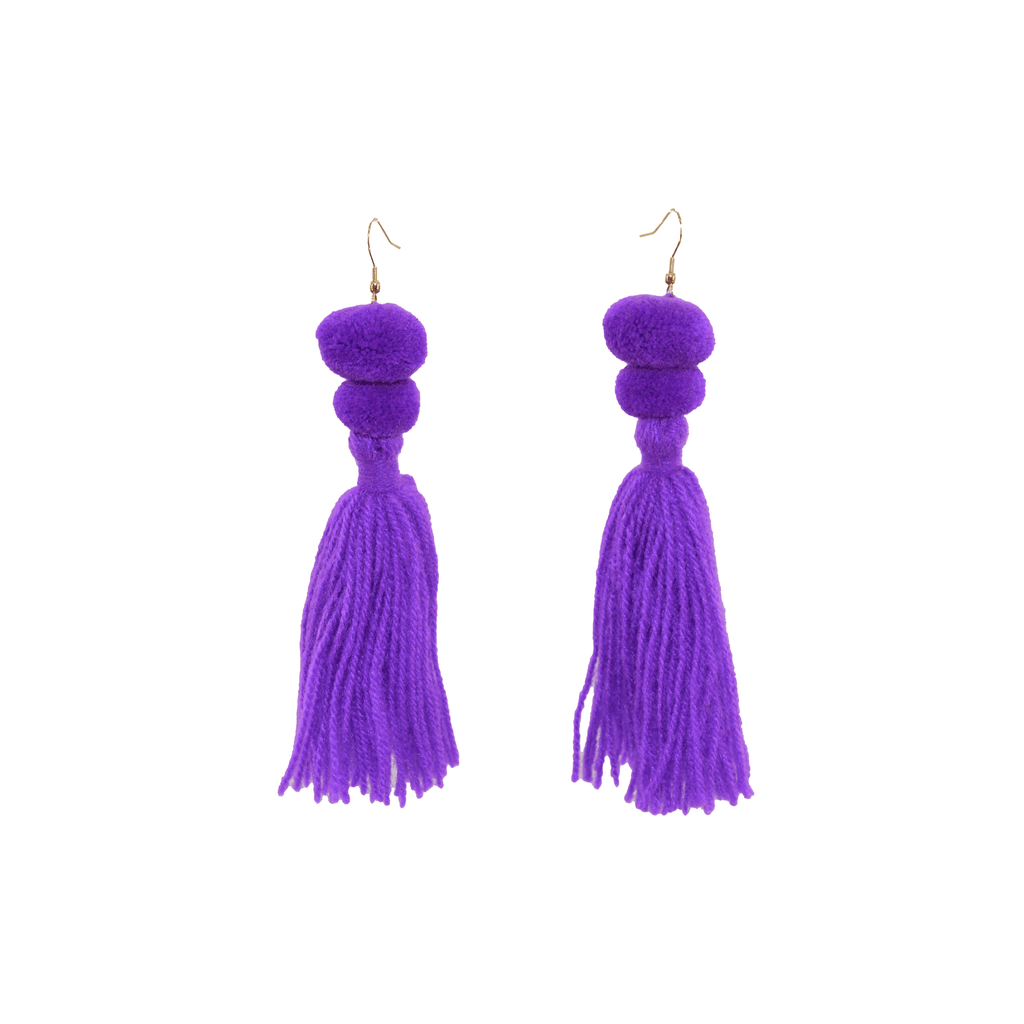 Alexandra Double Pom Tassel Earrings in Ultra Violet - Josephine Alexander Collective