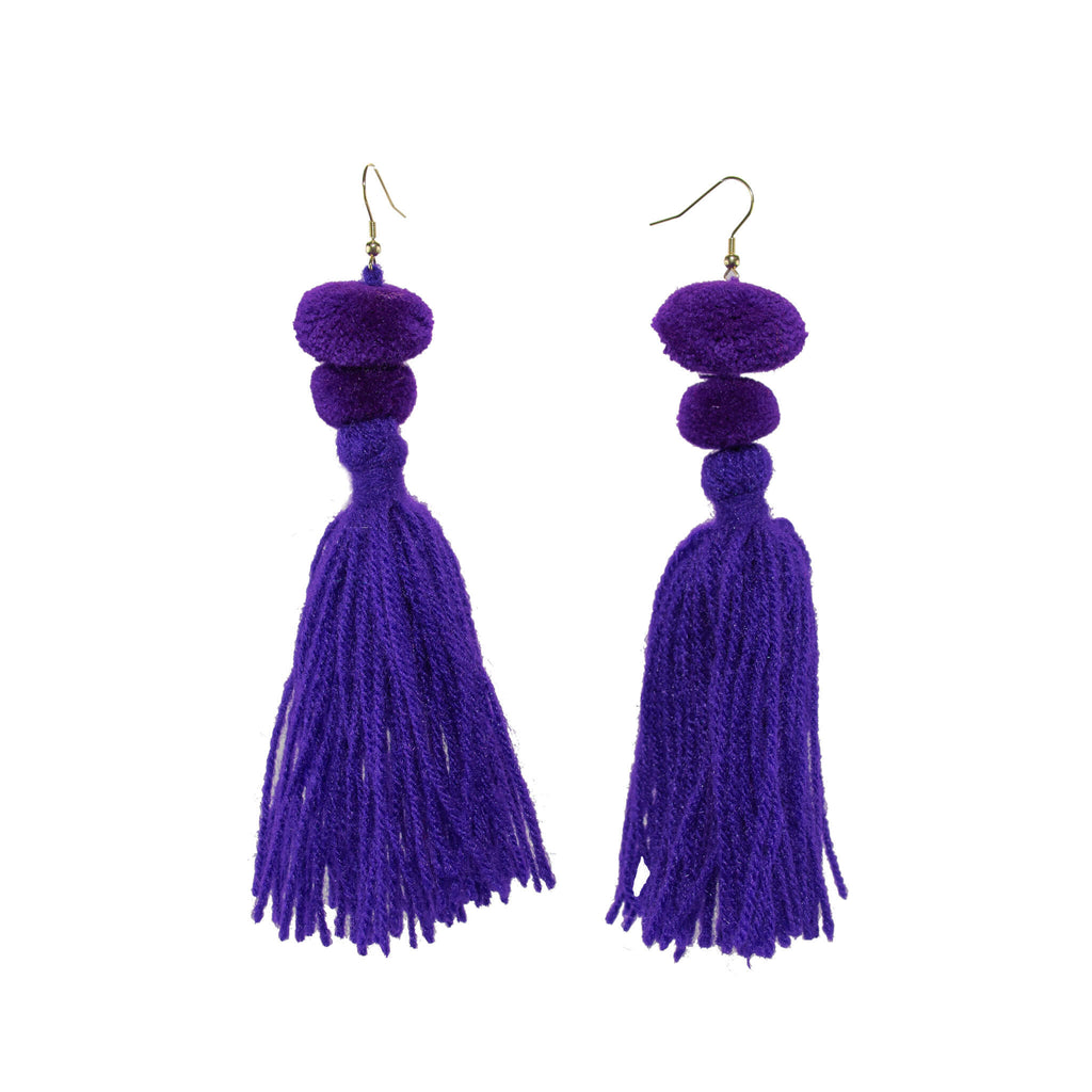 Alexandra Double Pom Tassel Earrings in African Violet - Josephine Alexander Collective