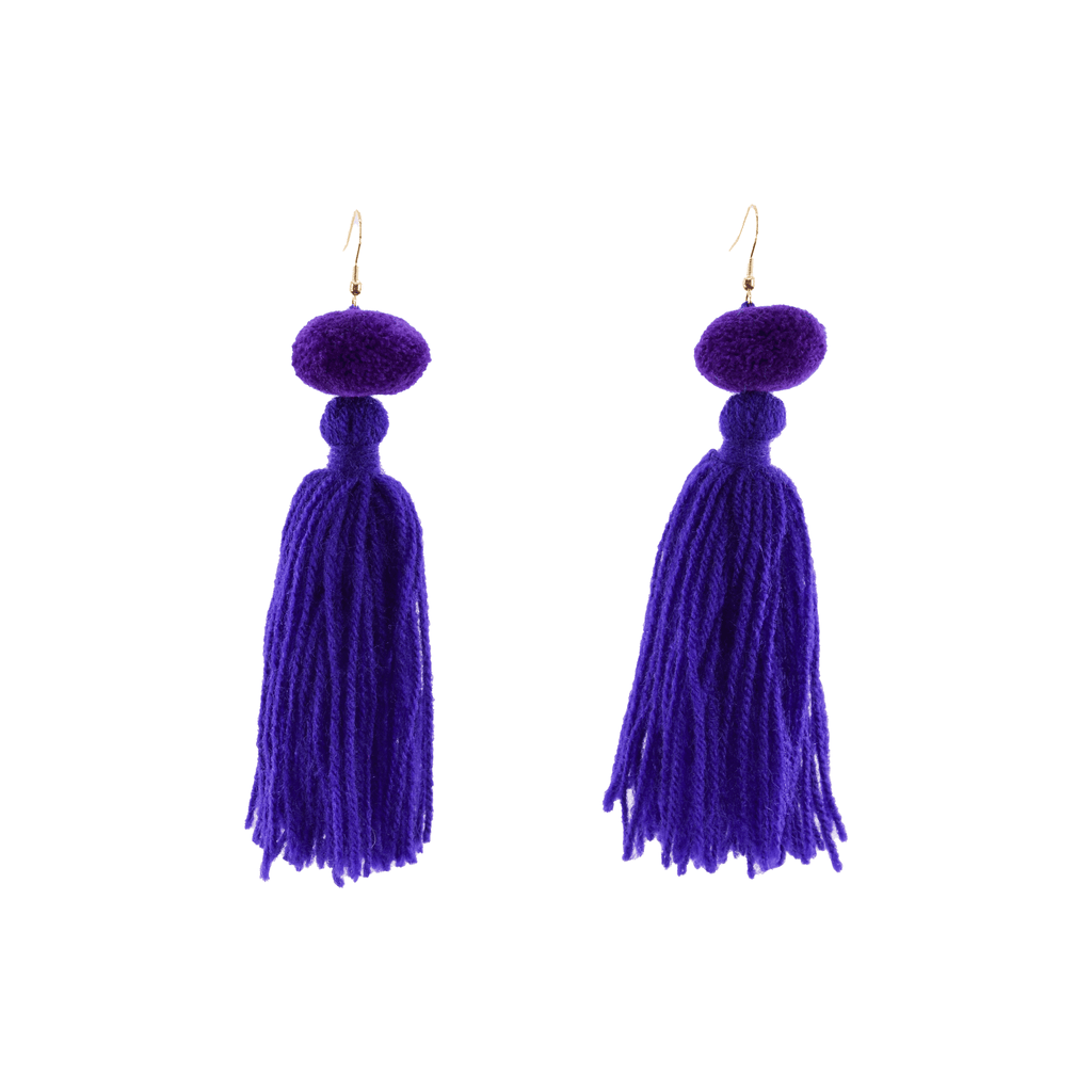 Alexandra Single Pom Tassel Earrings in African Violet - Josephine Alexander Collective