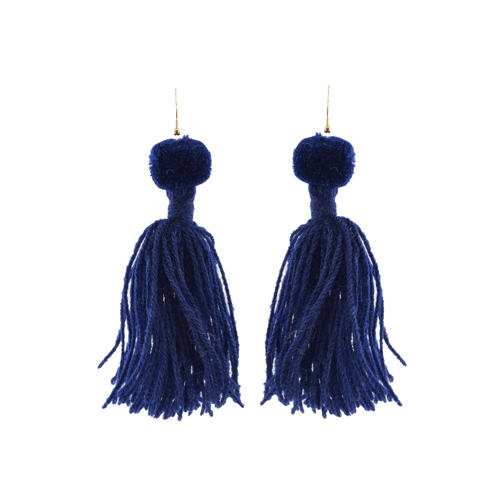 Alexandra Single Pom Tassel Earrings in Deep Navy - Josephine Alexander Collective