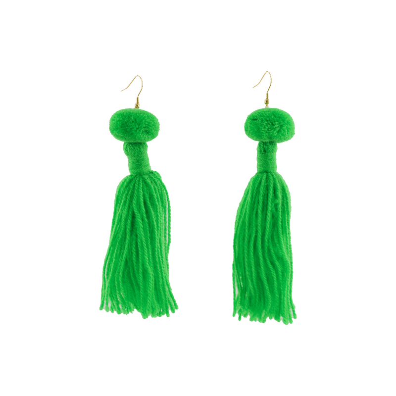 Alexandra Single Pom Tassel Earrings in Kelly Green - Josephine Alexander Collective