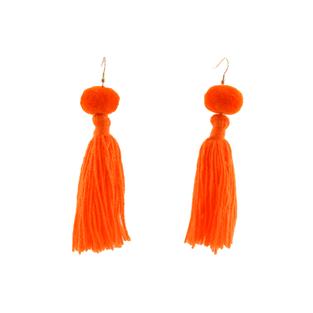 Alexandra Single Pom Tassel Earrings in Mandarin - Josephine Alexander Collective