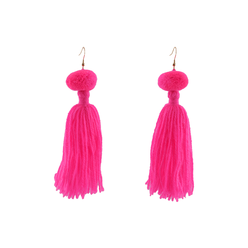 Alexandra Single Pom Tassel Earrings in Pink Drink - Josephine Alexander Collective