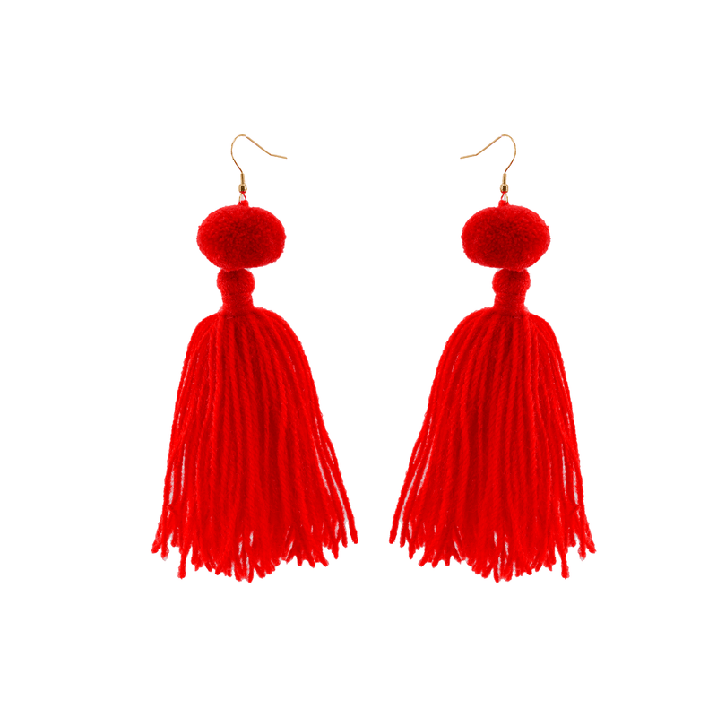 Alexandra Single Pom Tassel Earrings in Red - Josephine Alexander Collective