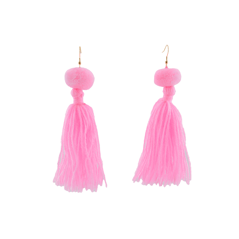 Alexandra Single Pom Tassel Earrings in Rosa - Josephine Alexander Collective